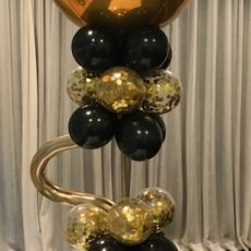 Gold And Black Helium Balloon Tower Champers Party Shop